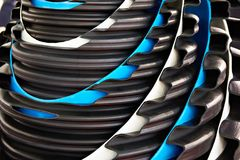 Corrugated pipes for external sewerage. In cut section Royalty Free Stock Photo