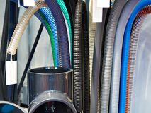 Corrugated plastic hoses for plumbing. System Stock Image
