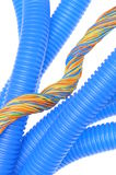 Corrugated plastic pipe with electrical cable Royalty Free Stock Images