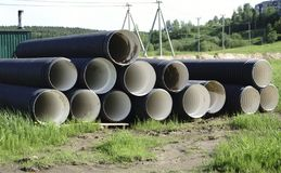 Corrugated plastic pipes at a construction site.  Royalty Free Stock Photo