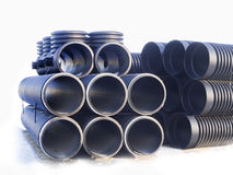 Corrugated plastic pipes. At a construction site Royalty Free Stock Images