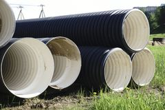 Corrugated plastic pipes at a construction site.  Stock Photography