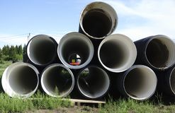Corrugated plastic pipes at a construction site.  Royalty Free Stock Image