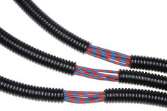 Corrugated plastic pipes. With electrical cables Stock Photos