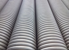 Corrugated plumbing pipe. Neatly arranged Royalty Free Stock Photography