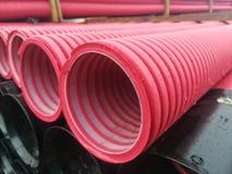 Corrugated PVC pipes Stock Photo