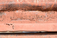 Corrugated Rust Pattern. Rough corrugated rust pattern on metal with copy space area Royalty Free Stock Images
