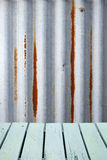Corrugated Rustic Metal Wood Background. A rustic background using corrugated iron and painted wood slats stock images