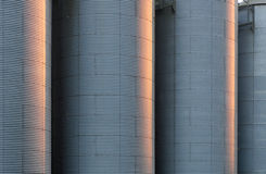 Corrugated silo tanks Royalty Free Stock Photography