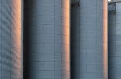 Corrugated silo tanks Royalty Free Stock Photography