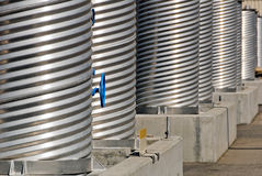 Corrugated Stainless Steel Pipes Royalty Free Stock Photos