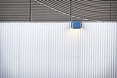 Corrugated steel. Corrugated wall at a new building - nice background with copy space stock images