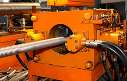 Corrugation forming mashine closeup Stock Images