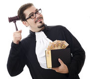 Corrupt judge with money and law Royalty Free Stock Photos