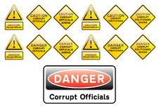 Corrupt officals and politicians signs. Corrupt official and politicians caution and danger signs Royalty Free Stock Images