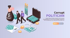 Corrupt Politician Horizontal Banner stock illustration