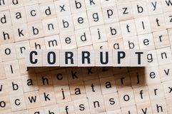 Corrupt word concept royalty free stock photography