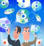 Corrupted discs. Two men try to repair corrupted discs vector illustration