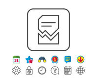 Corrupted Document line icon. Bad File sign. Stock Images