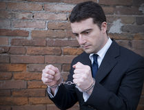 Corrupted manager in jail Royalty Free Stock Images