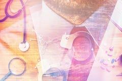 Corruptie in de gezondheidszorgindustrie, multilayered beeld stock foto's