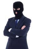 Corruptieconcept - de mens in pak en het zwarte masker isoleren Stock Afbeeldingen