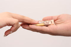 Corruption. Give someone money for corruption purposes Royalty Free Stock Photo