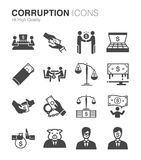 Corruption and bribery icons set vector illustration