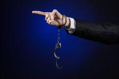 Corruption and bribery theme: businessman in a black suit with h Stock Image