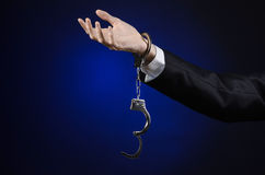 Corruption and bribery theme: businessman in a black suit with h Stock Photo