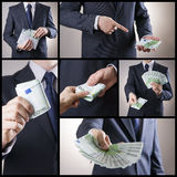 Corruption and business collage Stock Photos