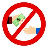 Corruption. Businessman gives a bribe. Corrupt practices. Vector illustration. Red prohibition sign Stock Photography