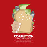 Corruption Concept. Hand Holding Hamberger Corruption Concept Vector Illustration Royalty Free Stock Photos