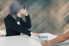 Corruption concept, unrecognize young women receiving bribe Stock Images