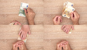 Corruption concept, man giving bribe money to woman Stock Photography