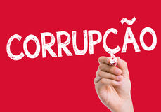 Corruption (Corrupcao in Portuguese) written on the wipe board Stock Image