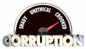 Corruption Crooked Unfair Behavior Gauge Speedometer. 3d Illustration Stock Photos