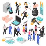 Corruption Isometric Set royalty free illustration