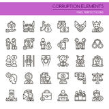 Corruption Elements. Thin Line and Pixel Perfect Icons Royalty Free Stock Photography
