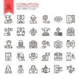 Corruption Elements. Thin Line and Pixel Perfect Icons Stock Images