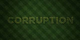 CORRUPTION - fresh Grass letters with flowers and dandelions - 3D rendered royalty free stock image Stock Photos