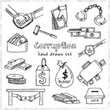 Corruption hand drawn doodle set. Sketches. Vector illustration for design and packages product. Symbol collection.  Royalty Free Stock Image