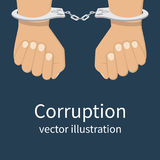 Corruption icon vector. Handcuffs on hands. Corruption icon. Anti corruption concept. Vector illustration, flat design style. Bribery vector Stock Photography