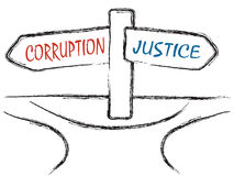Corruption and Justice. Illustration of signpost with signs CORRUPTION and JUSTICE on the crossroads Royalty Free Stock Photos