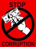 corruption La main garde des dollars d'argent Vecteur Affiche sur le rouge Photos libres de droits