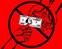 corruption La main garde des dollars d'argent Vecteur Affiche sur le rouge Photo stock