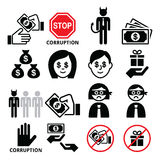 Corruption, no bribes and presents, corrupted businessman icons set Stock Images