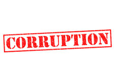 CORRUPTION. Red Rubber Stamp over a white background stock photography