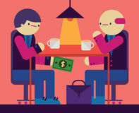 Corruption. A shady deal goes on between a businessman and a politician. They exchange bribe money under the table Royalty Free Stock Image