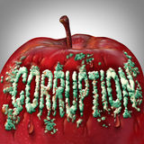 Corruption Symbol. And rotten to the core concept as mold or fungus shaped as text on an apple representing the criminal act of bribery and fraud as a legal Stock Image